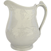English 19th Century Ironstone Stone China White Pitcher by John Meir & Son
