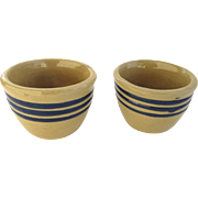 Pair Vintage Yellow Ware Yellowware Miniature Custard Bowls Blue Lines
