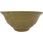 "Large Vintage Yellow Ware Bowl Pattern 12 1/2"" Diameter Country Kitchen"
