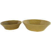 Two Vintage Rustic Country Kitchen Yellow Ware Sloped Flanged Edge Bowls