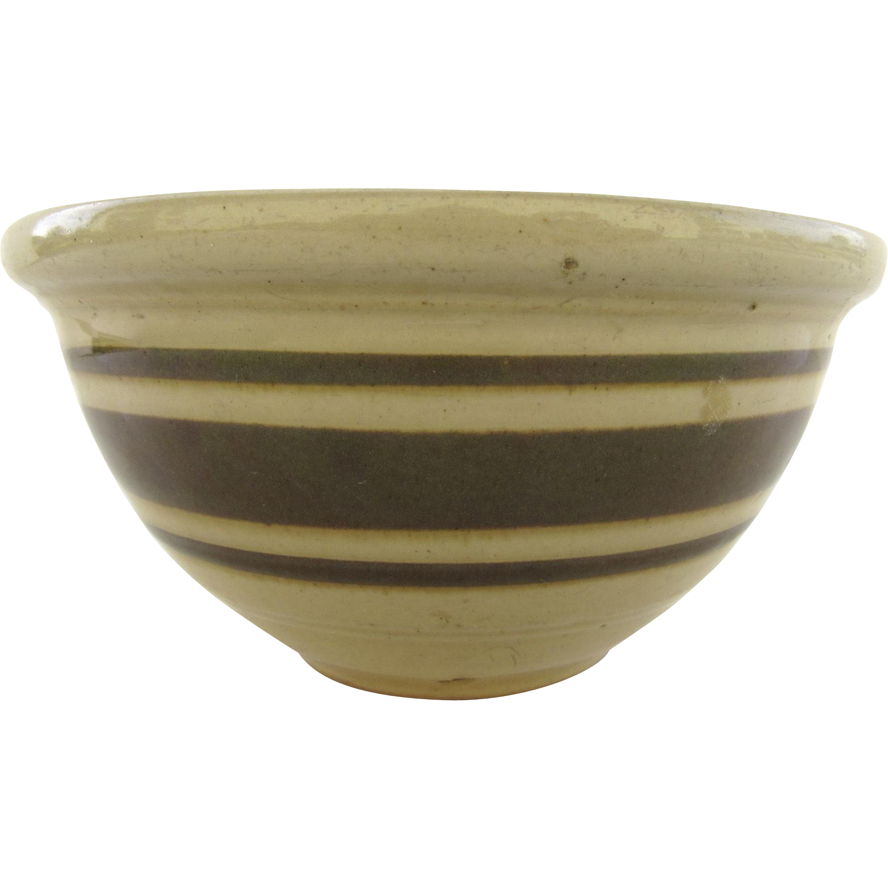 Vintage Stoneware Yellow Ware Brown Striped Bowl from ...