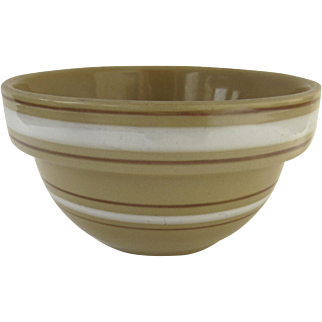 """Vintage Over and Back Yellow Ware Yellowware Bowl 6"""" White Tan Stripes Country Kitchen"""