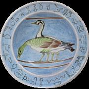"Huge Vintage Faience Charger Bowl Ducks and Greek Hieroglyphics 18"" Diameter Italy Italian"