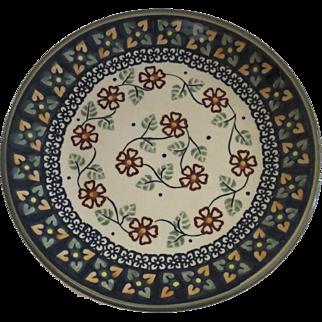 "Vintage Polish Poland Pottery Plate Unikat 8 1/2"" Signed"
