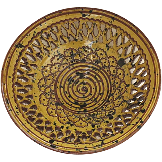 Vintage Spanish Reticulated Traditional Pottery Bowl by Tito