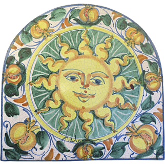 Vietri Fratantoni Sunburst Sun Trivet Tile Plaque