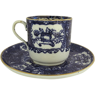 Deep Blue and White English Cup and Saucer with Gilt Edge by W. T. Copeland c 1860
