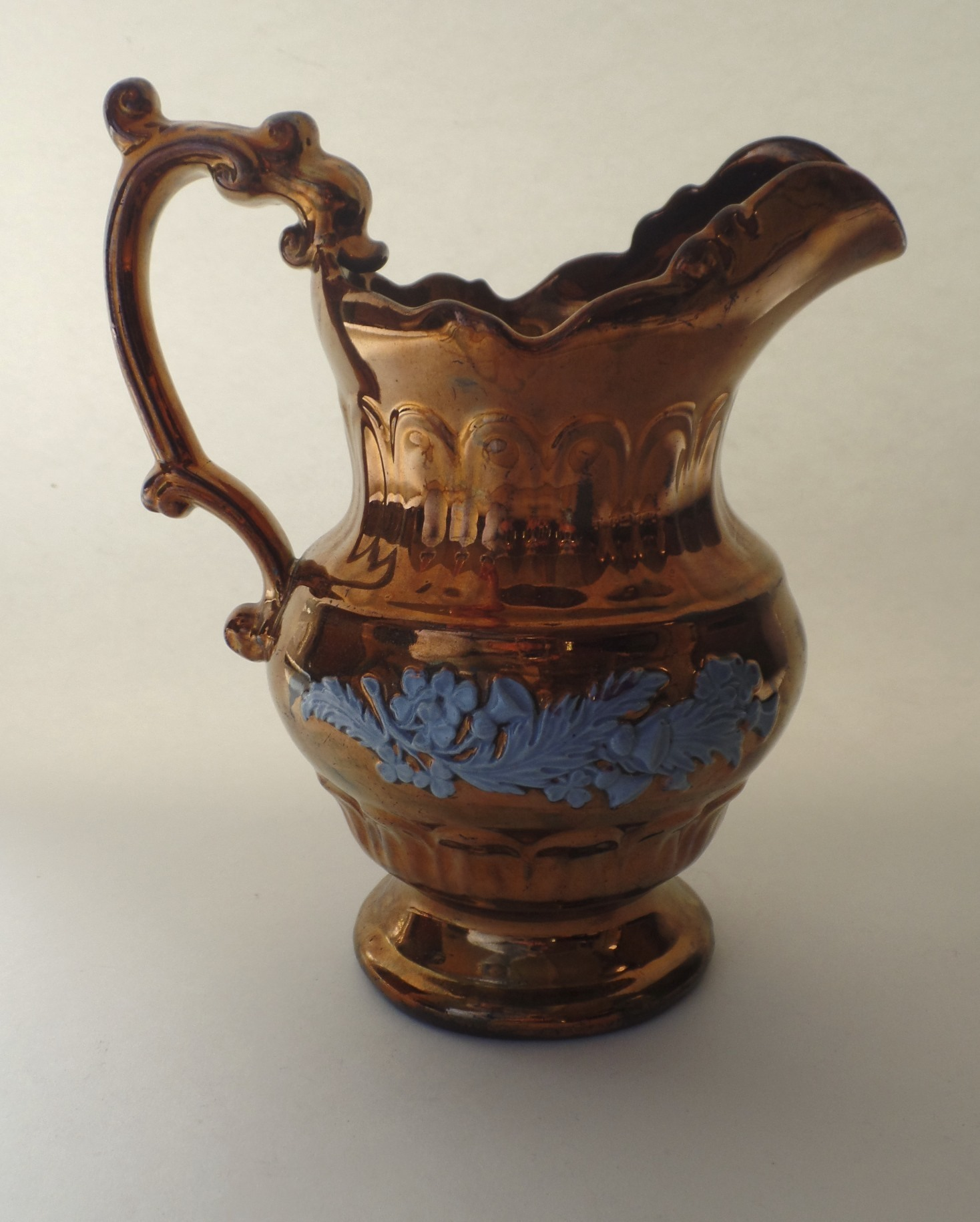 Scottish Copper Luster Hot Milk Jug Pitcher Raised Thistle Motif