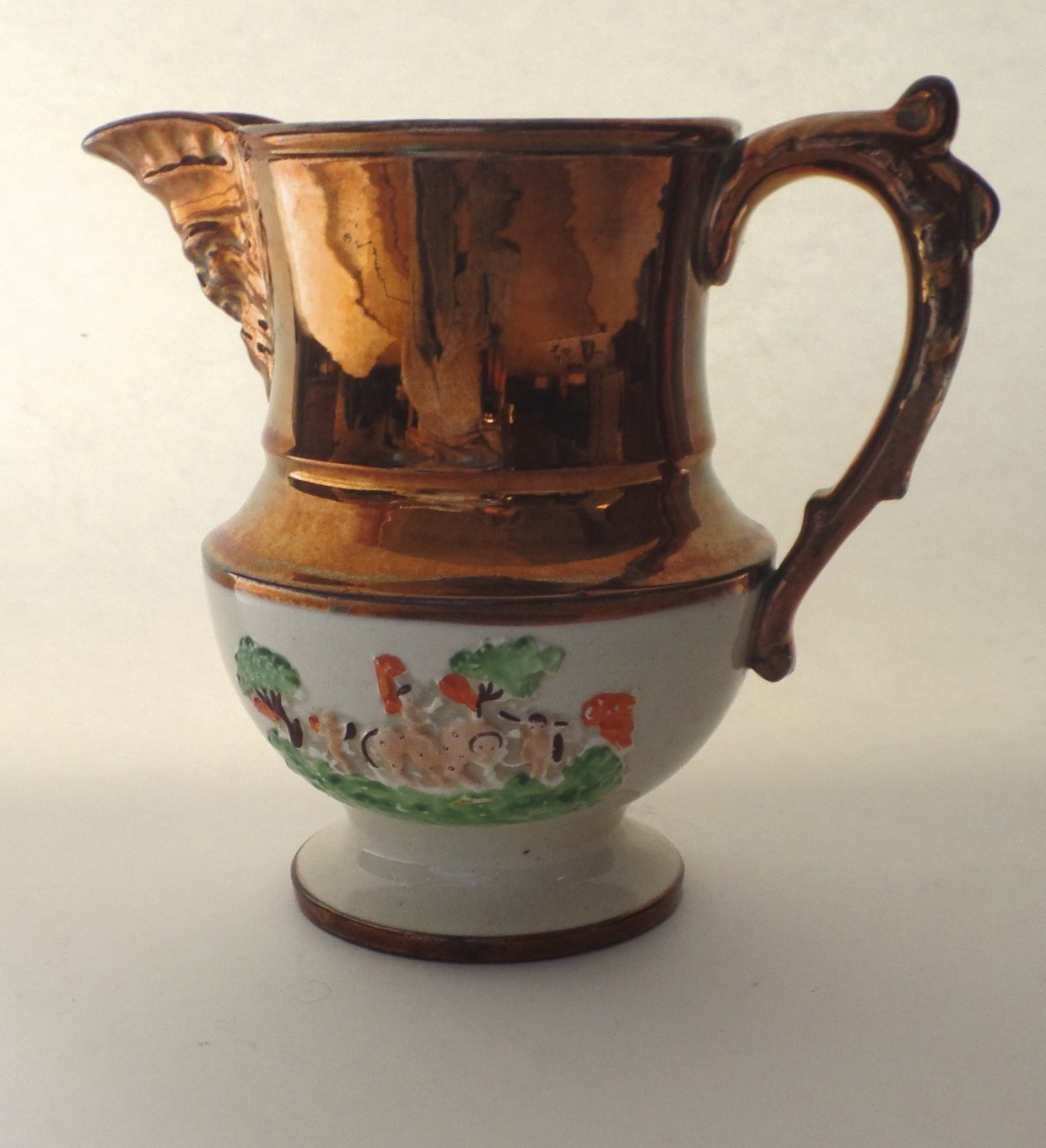 English Copper Luster Pitcher c1825 Raise Decorated Band Putti Angels Lion North Wind/Green Man Spout