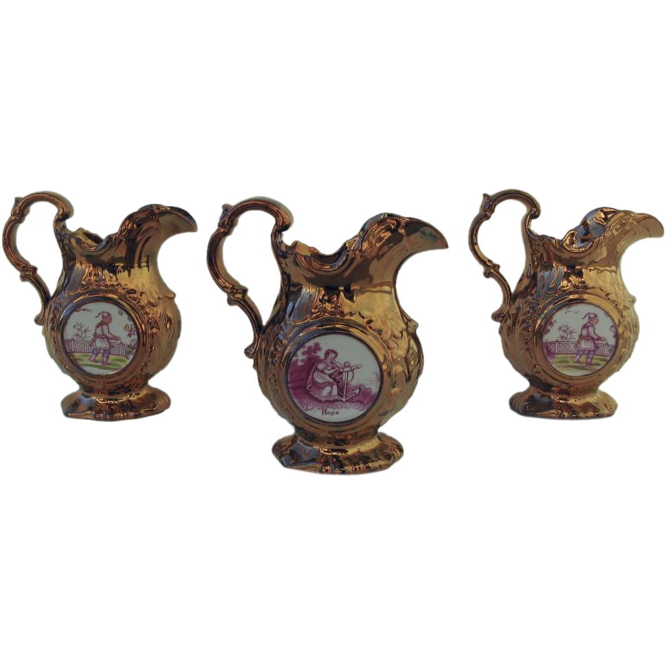 Set of Three Luster Pitchers Chinoiserie Clock