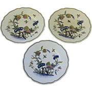 Group of Three (3) French Sarraguemines Faience Fine Plates Birds Insects Chinois Landscape