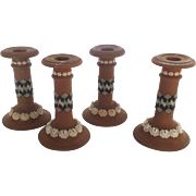 Set of Four (4) Royal Doulton Matte Jasper Ware Candlestick Mocha Blue Silicon Ware