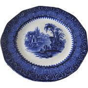 """19th Century English Blue and White Transferware Plate """"Templer"""" Architectural Ruins"""