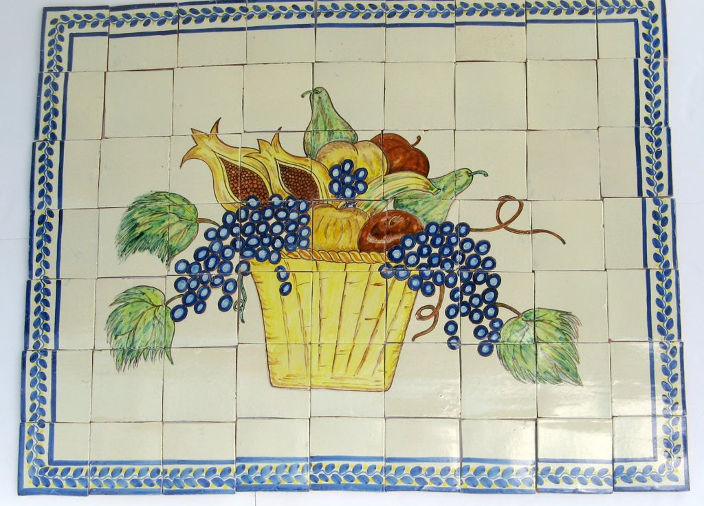 Vintage Glazed Mexican Mural Tiles Fruits Basket Stove Back Kitchen Backsplash