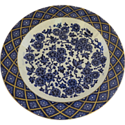 English Hawthorn Deep Dish Blue and White Gilt Highlights Ridgeway Staffordshire Potters c 1880