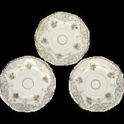 19th Century Hand-Painted Gilt English Plates, Set of Three