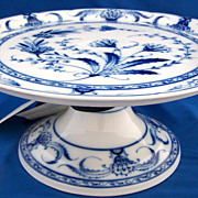 Fischer & Mieg  Blue and White Footed Dessert Stand Cake Stand 1860