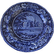 Ralph Hall Staffordshire Fulham Church Picturesque Scenery Plate Blue White c 1830