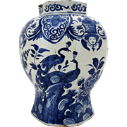 Early Delft Blue and White Vase Angels and Peacocks Motif