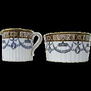 English 19th Century Wedgwood Etruria Sugar and Creamer Adams Gilt Medallions