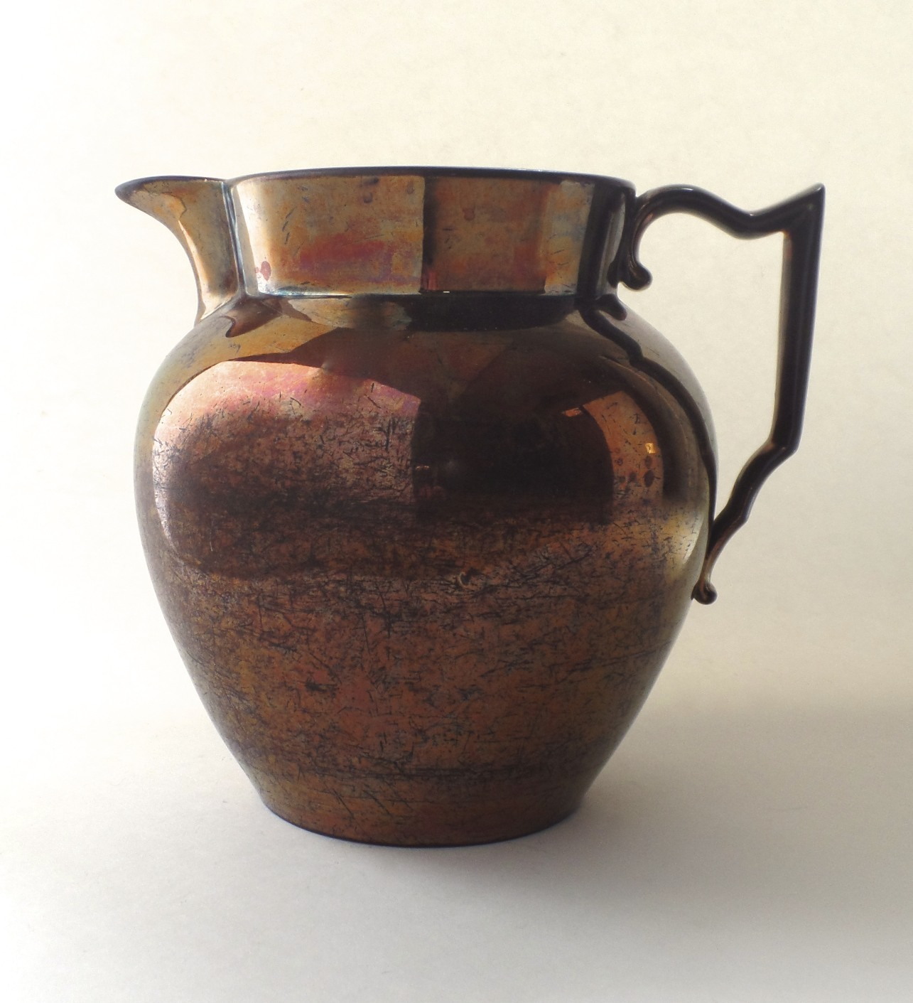 Very Large English Copper Luster Jug Pitcher Early 19th Century
