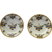 19th Century Pair of Italian Faience Plates