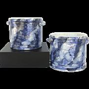 Pair Vintage Handmade Cachepot Design by Este Known as Este Ceramiche Porcellane Company.