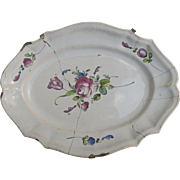 French 20th Century Faience Platter Staple Repair