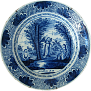 Large Delft Blue and White Charger Sara & Abimelech 18th Century