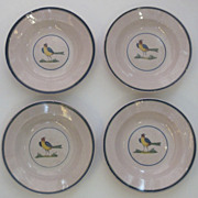 Set of 4 Faience Glazed French Bowls with Bird Motif