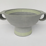 Large Un-Glazed 20th Century Footed Bowl Grey Yellow Signed