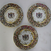Set of Three (3) Capodimonte Bas-Relief Plates 8 3/4""