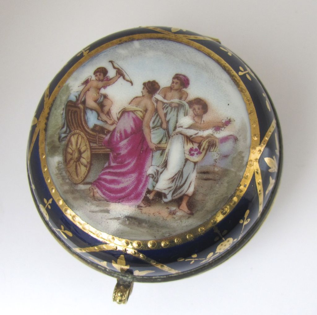 French Porcelain Box with Cupid
