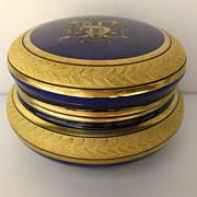 French Cobalt Blue Raised Gilt Porcelain Box c 1900