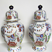 Pair of Large Mason's Ironstone Lidded Vases Urns Flying Bird