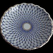 "Vintage Lomonosov Russian Russia Cake Plate Cobalt Blue 22K Gold Russia Net 8 1/2"" Scalloped Edge"