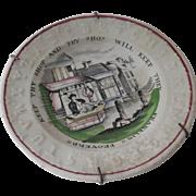 19th Century ABC Child's Plate Raised Alphabet Staffordshire