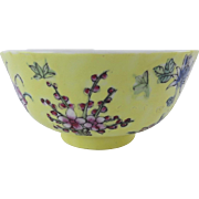 Vintage ACF Japanese Porcelain Ware Small Yellow Floral Decorated Bowl Chinese