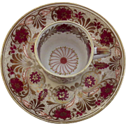 English Coffee Can Cup and Saucer c 1815 Rust and Gilt Pattern Number