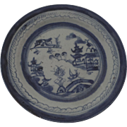 Chinese Canton Blue and White Plate 7""