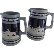 Two Graduated Spode Copeland Blue Jasperware Large Pitchers Jugs English Hunt Scenes Late 19th Early 20th Century