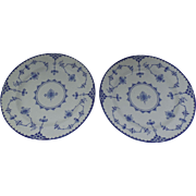 """Pair of English """"Copenhagen"""" Blue and White Plates Lace"""