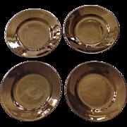 4x Vintage Sarreguemines Copper Luster Plates France