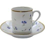 Vintage Demitasse Cup and Saucer with Cornflower Blue Sprig Motif