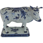 Vintage Older Plateelbakkerij Zuid-Holland (PZH) Little House Blue and White Cow on Stand