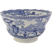 19th Century English Blue and White Cup with Urn Garden Motif c 1840
