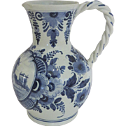 Vintage Deft Blue and White Pitcher Twisted Handle Windmill