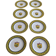 "Vintage Set of Eight (8) Italian Faience Grazia Deruta Pottery Chargers 13"" Shield Crest Caterpillar"