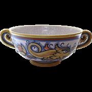 "Vintage Italy Italian Deruta Maiuliche ""Raffaellesco"" Bowl with Scroll Handles Dolphin"