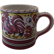 Vintage Deruta Rooster Majolica Faience Italy Italian Mug Cup Red - Red Tag Sale Item